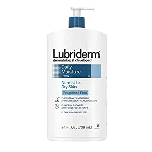 Lubriderm Daily Moisture Hydrating Unscented Body Lotion with Vitamin B5 for Normal to Dry Skin, Non-Greasy and Fragrance-Free Lotion. 24 fl. oz