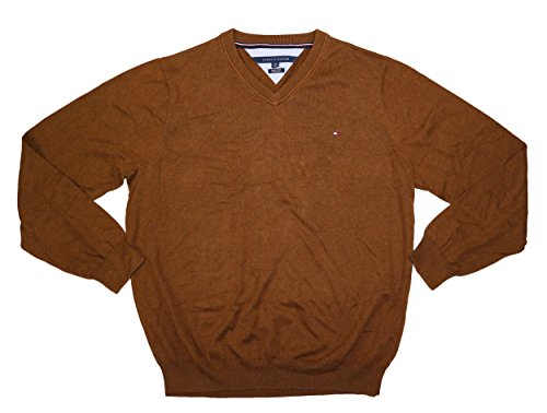 Tommy Hilfiger Mens Knit Ribbed Trim VNeck Sweater Brown S