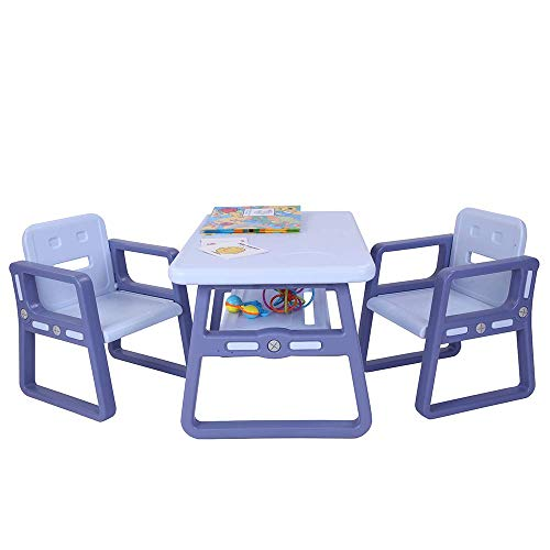 Contemporary Multipurpose Kids Table and Chair Set With Storage Rack