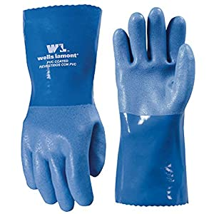 Heavy Duty PVC Coated Work Gloves, Liquid/Chemical Resistant, Cotton Lining, Large (Wells Lamont 174L)