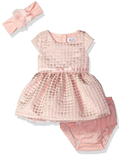 The Children's Place Baby Short Sleeve Floral Jacquard Dress Set, Bow, Pink, 12-18 Months ()