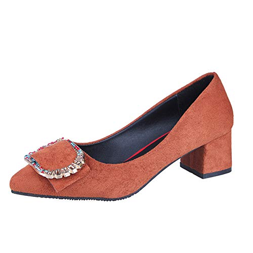 Court Shoes Shoes High Heel Block Heel Pumps Party Shoes Matte Thick with Metal Rhinestone Belt Buckle Women's Shoes ZHAOYONGLI (Color : Brown - Buckle, Size : 34 (21.5cm-22.0cm))