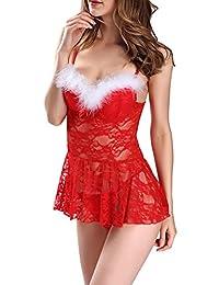 Dawafa Women's Lingerie Feather Babydoll Lace Chemises Mini Red Dress S-2XL