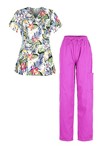 G Med Women's 2 Pieces Missy Fit Printed Scrub Mock Wrap Top and Pant Set(SET-MED,DPKA3-L) (Sleeve Nursing Scrubs)