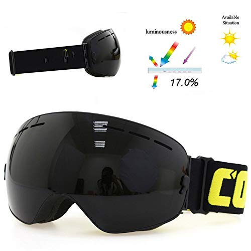 Milk Snow Glass - Men Women Snowboard Goggles Glasses for Skiing UV400 Protection Snow Skiing Glasses Ski Mask,All Black,Russian Federation