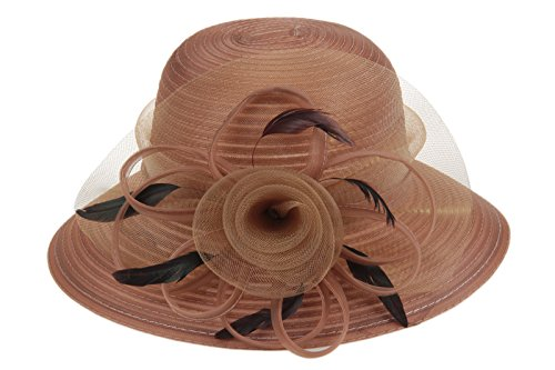 Dantiya Lady Derby Dress Church Bow Bucket Wedding Bowler Hats Wide Brim Beach UPF Protection Cap (Brown, Free)