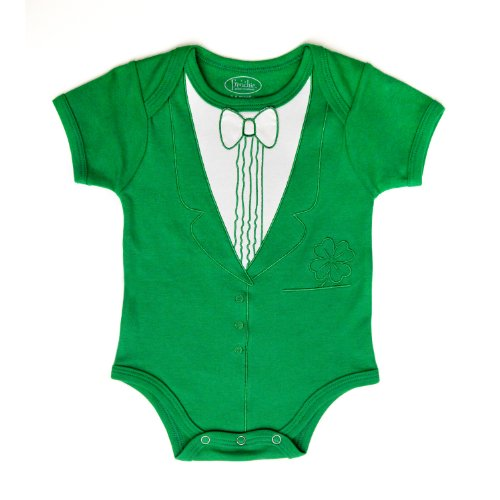 St. Patrick's Day Tuxedo Bodysuit - Frenchie Mini Couture (6-9 (Elephant Mini Button)