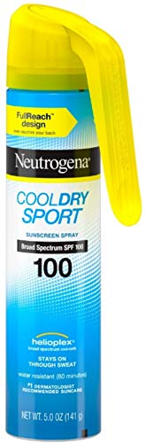 Neutrogena CoolDry Sport Fullreach Sunscreen Spray with Broad Spectrum SPF 100, Lightweight & Water-Resistant, Oil-Free & PABA Free 5 oz