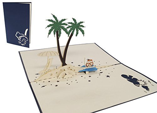 Palm Tree Holiday Card - Lin, pop-up Greeting Card, 3D Holiday Greeting Card, Palm Tree, Island, Snorkelling