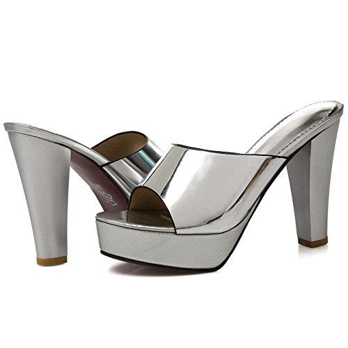 Tacco Pantofole Tacco Argento COOLCEPT Elegante Blocco con da Sandali Alto Donna 0xaEdawH