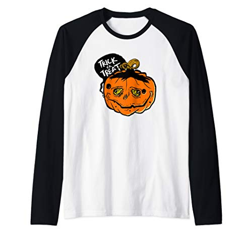 (Sad And Creepy Pumpkin Face Halloween Trick Or Treat Raglan Baseball)