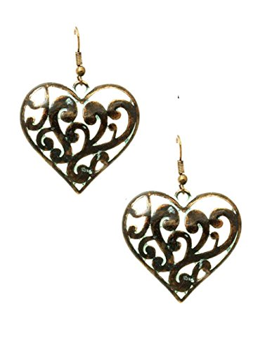 Distressed Chubby Open Work Scroll & Curlicue Patina Green & Copper-Tone Heart Dangle Earrings, 1 -