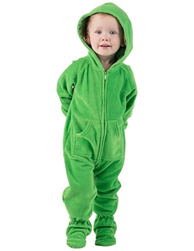 Footed Pajamas - Emerald Green Infant Hoodie Fleece Onesie - Large -