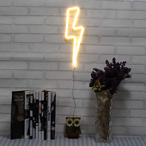 Neon Signs Lightning Bolt Battery Operated and USB Powered Warm White Art LED Decorative Lights Wall Decor for Living Room Office Christmas Wedding Party ()