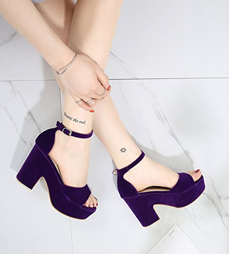 heel Women's Wedge Solid Open Purple Middle CAMSSOO toe Sandals Color STwqH