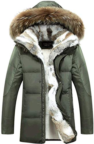Long Down Lined Z6M6 Collar Winter Armygreen Jacket Hooded Mid Mens Faux Detachable Coat Fur Fur 90 Outdoor Parka Warm wwgCq1ZB