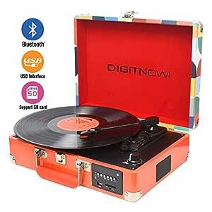 DIGITNOW! Tocadiscos Bluetooth Plato giradiscos Plato Vinilo- Función Grabación, FM Radio, MP3,USB, SD, 3 velocidades, 33/45/78 RPM con Altavoces ...