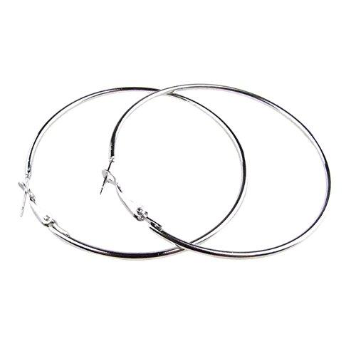 Hosaire Big Round Circle Earrings 2.75inches Diameter Delicate Hoop Earrings Dress Accessories