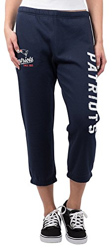 (NFL New England Patriots Women's Jogger Pants Capri Cropped Fleece Sweatpants, Large, Navy)
