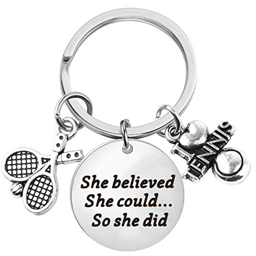 Lywjyb Birdgot Tennis Gift Tennis Lover Gift Tennis Player Gift Tennis Coach Gift She Believed she Could so she did Tennis Keychain Tennis Jewelry for Her (Tennis Keychain)