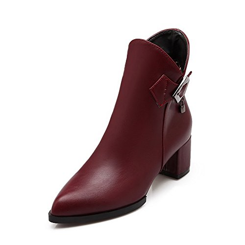 Allhqfashion Women's Solid Kitten-Heels Pointed Closed Toe PU Zipper Boots Claret