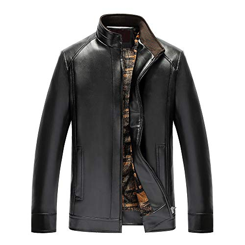 (Big Promotion FarJing Men's Fashion Pure Color Stand Collar Zipper Imitation Leather Business Coat(5XL,Black))