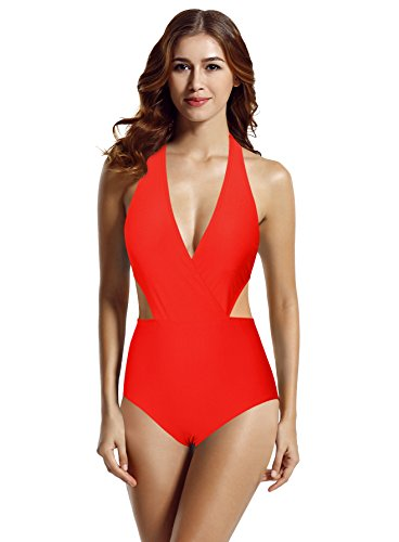 zeraca Women's Surplice Neckline High Waisted Halter One Piece Monokini Swimsuit (Red Ignited, Small/6) (Surplice Bra)