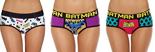 Undergirl Womens Batman Hipster Panties - 3 Pack, Large (Womens Batman Underwear)