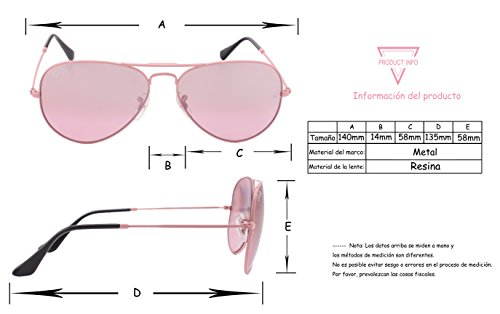 Metal CAI Ray Gafas Lens BLU Sol de Marco Mujer Rosa Resin Sunglasses rrcSpUBy