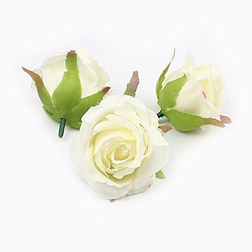 Artificial Rose flower head silk Flowers For Wedding Decoration flower wall Handmade Fake Flowers 7pieces 6cm (white) (Handmade Bouquet Red Rose)