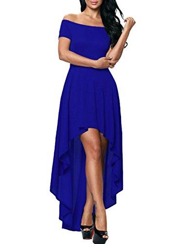 Dora Mariée Haut Bas Robes De Bal Bustier Salut Lo Demoiselle D'honneur Robe De Soirée Pour Les Femmes Bleu