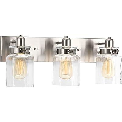 Progress Lighting P300047-009 Calhoun Brushed Nickel Three-Light Bath & Vanity, 3