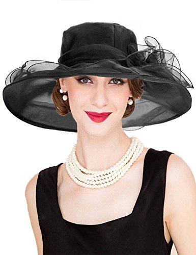 - Dafunna Women's Organza Church Derby Hat Kentucky Fascinator Tea Party Bridal Shower Wedding Hat