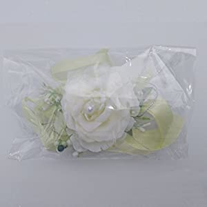 Arlai Wrist Corsage Wristband Roses Wrist Corsage for Prom, Party, Wedding Beige 5