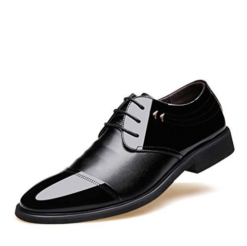 NBWE Glattleder Herren Derby Schuhe aus Gummi Sohlen Schnürschuhe Schuhe Oberen 473 Black