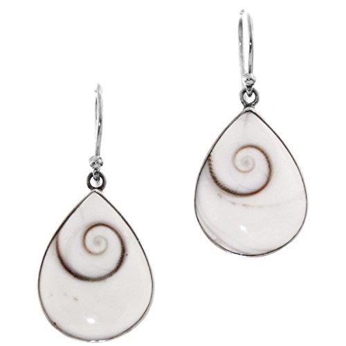 Teardrop White Shiva Eye 925 Sterling Silver Earrings, 7/8