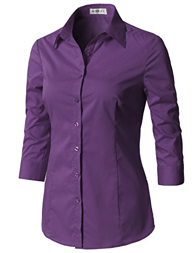 (CLOVERY Women's Basic 3/4 Sleeve Formal Work Wear Simple Shirt with Stretch Violet S)