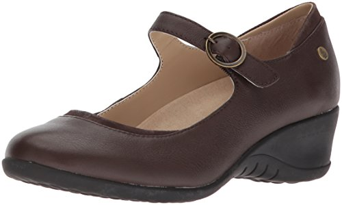 Hush Puppies Women's Odell Mary Jane Flat, Dark Brown Leather, 06.0 M US