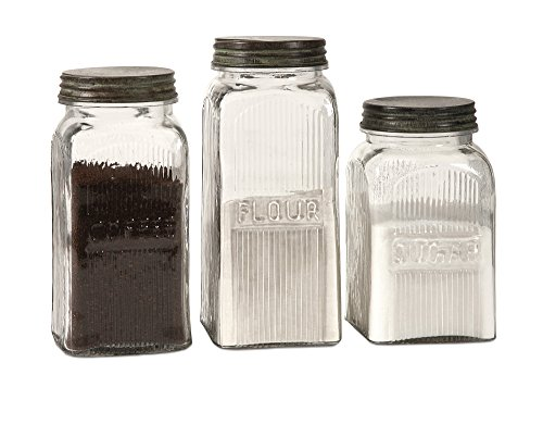 IMAX 84776-3 Dyer Glass Canisters - Set of 3 Kitchen Canisters with Vintage Style Ribbed Glass Finish. Food Storage Canisters
