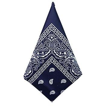 eddd342a707 SODIAL Lot de 1 Bandanas Paisley Bleu Marine - Foulard Coton Motif  Cachemire Vendu 1