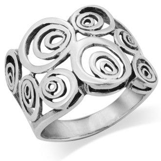MIMI Sterling Silver Wide Geometric Spiral Swirl Ring
