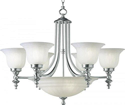 Dolan Designs 665-09 Richland 9 Light Bowl Chandelier, Satin Nickel - Glass Bowl Chandelier