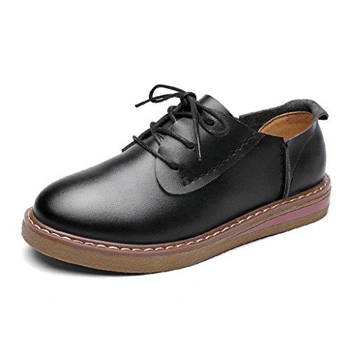 HWF Zapatos para mujer Zapatos casuales planos de encaje de cuero de mujer de estilo británico femenino de primavera Zapatos solos universitarios ( Color : Negro , Tamaño : 37 ) Negro
