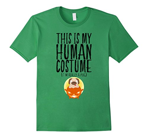 Mens Green Goblin Costume (Mens My Human Costume I'm Really A Pug Halloween Puppy Boys Kids 2XL Grass)