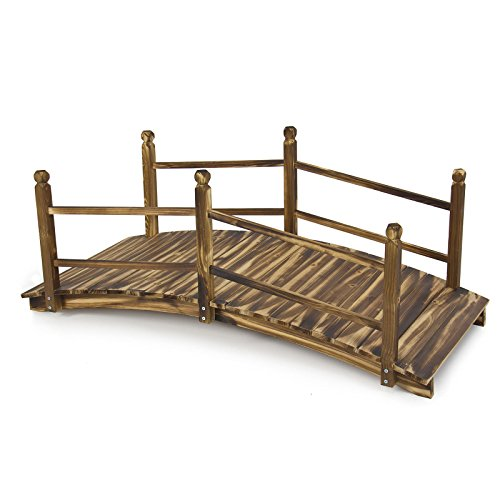 New Xyloid Bridge 5' Stained Finish Decorative Solid Wood Garden Pond Bridge