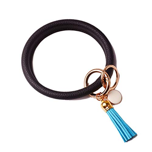 Black Circle Ring - L&N Rainbery PU Leather O Key Chain Circle Tassel Wristlet Keychain for Women Girls (Tassel Black)