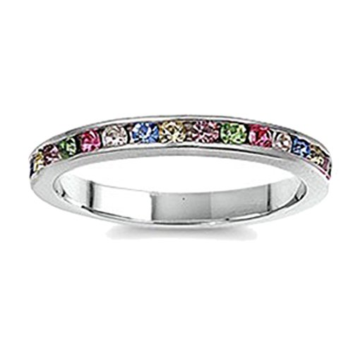 Sterling Silver Channel Set Rainbow Multi Color CZ Stackable Ring 3MM (Size 3 to 12), 9 ()
