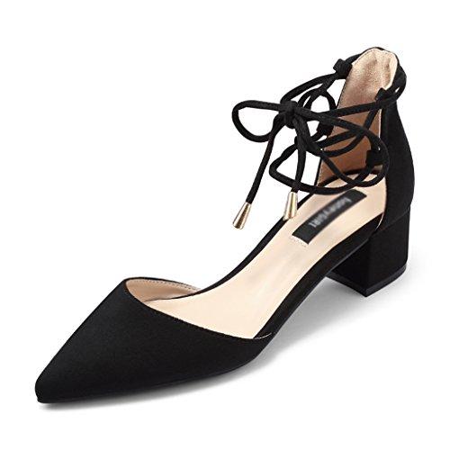 35 Heel o ZCJB Mujer Sandals Strap Mujer Tama Thick High De Negro With Shoes Mid De Zapatos Heels Verano Zapatos Color HB7HqR