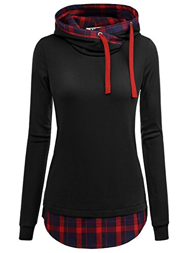 DJT Women's Funnel Neck Check Contrast Pullover Hoodie Top X-Large Black