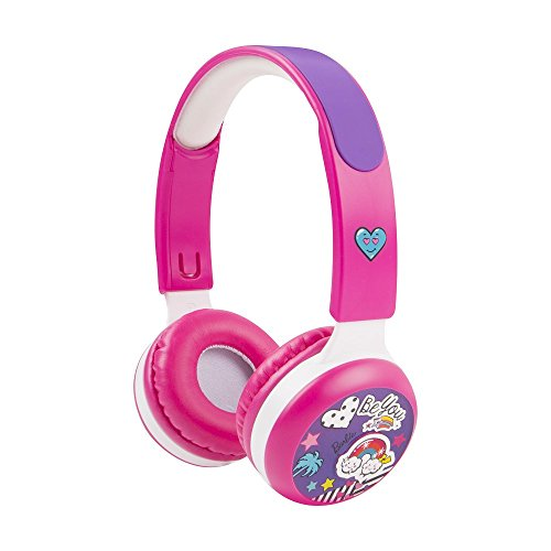Barbie Kid Safe Headphones, with Volume Limiting Technology for a Safe Listening Experience, 18 Stickers Included, by Sakar